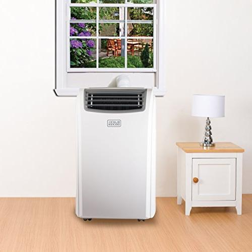 BLACK + BTU Portable Unit 11000 Heater, Display, Window Kit, Caster Wheels, White