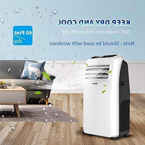 Shinco SPF2-08C 8,000 Portable Air Conditioner,Dehumidifier Functions,Rooms up sq.ft, Display, White