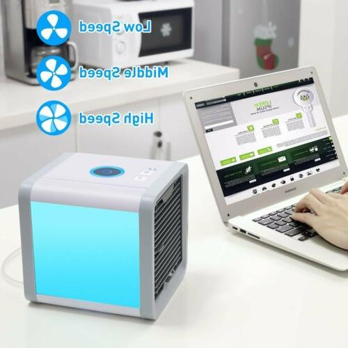 USB Air Fan Conditioner 7 Colors Light Humidifier